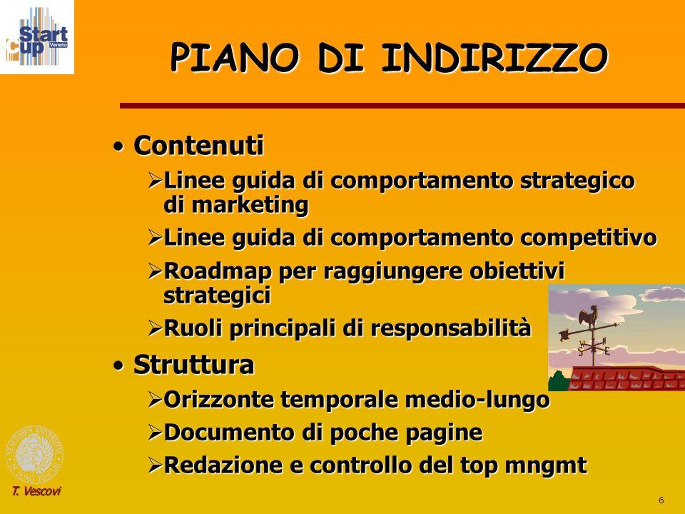6 T. Vescovi PIANO DI INDIRIZZO ContenutiContenuti  Linee guida di comportamento strategico di marketing  Linee guida di comportamento competitivo 