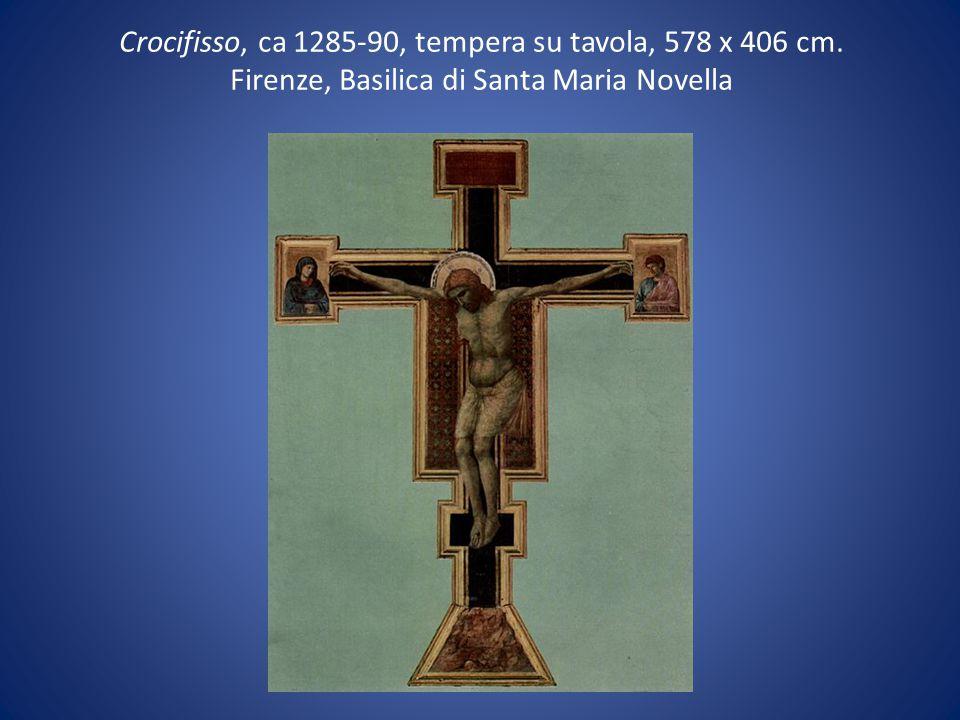 Crocifisso, ca 1285-90, tempera su tavola, 578 x 406 cm. Firenze, Basilica di Santa Maria Novella