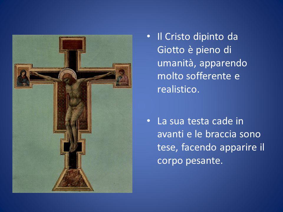 Il Cristo dipinto da Giotto è pieno di umanità, apparendo molto sofferente e realistico. La sua testa cade in avanti e le braccia sono tese, facendo a