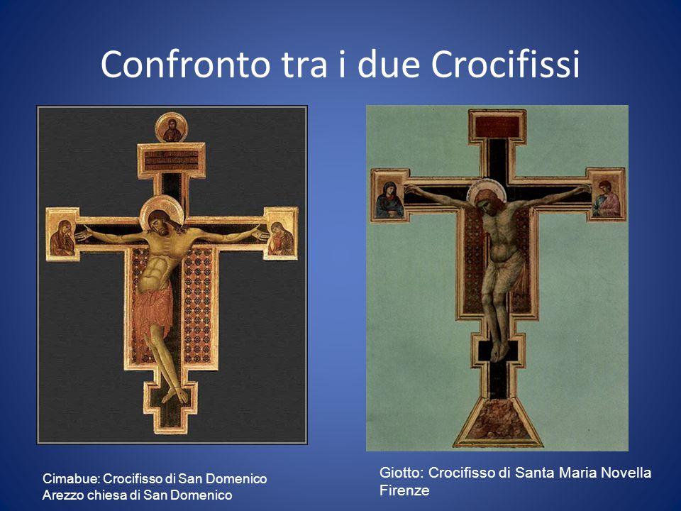 Confronto tra i due Crocifissi Cimabue: Crocifisso di San Domenico Arezzo chiesa di San Domenico Giotto: Crocifisso di Santa Maria Novella Firenze