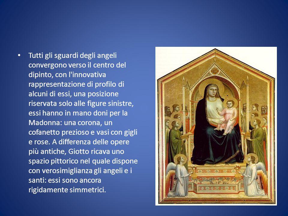 Tutti gli sguardi degli angeli convergono verso il centro del dipinto, con l'innovativa rappresentazione di profilo di alcuni di essi, una posizione r