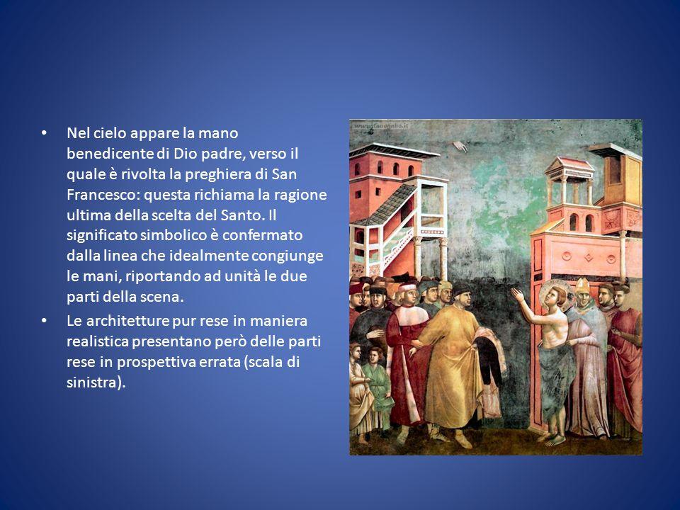 Nel cielo appare la mano benedicente di Dio padre, verso il quale è rivolta la preghiera di San Francesco: questa richiama la ragione ultima della sce