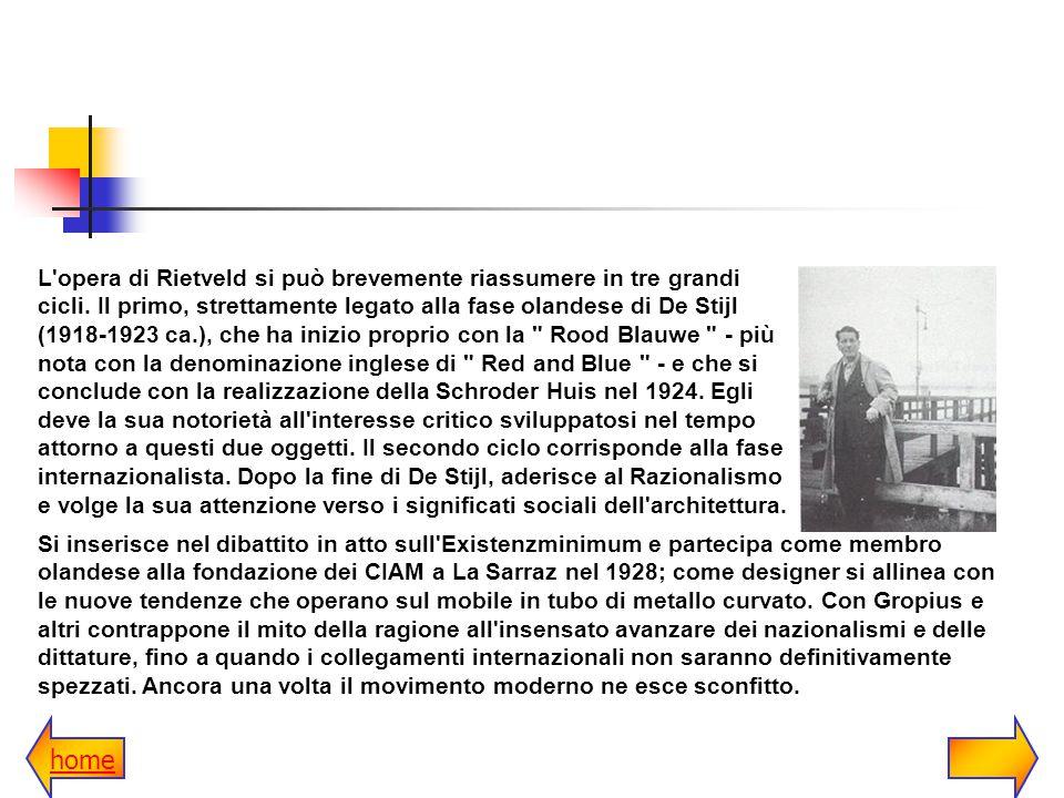Il terzo momento di Rietveld è quello dei riconoscimenti internazionali della fine degli anni Cinquanta, quando viene riscoperto il suo talento di architetto-artista.