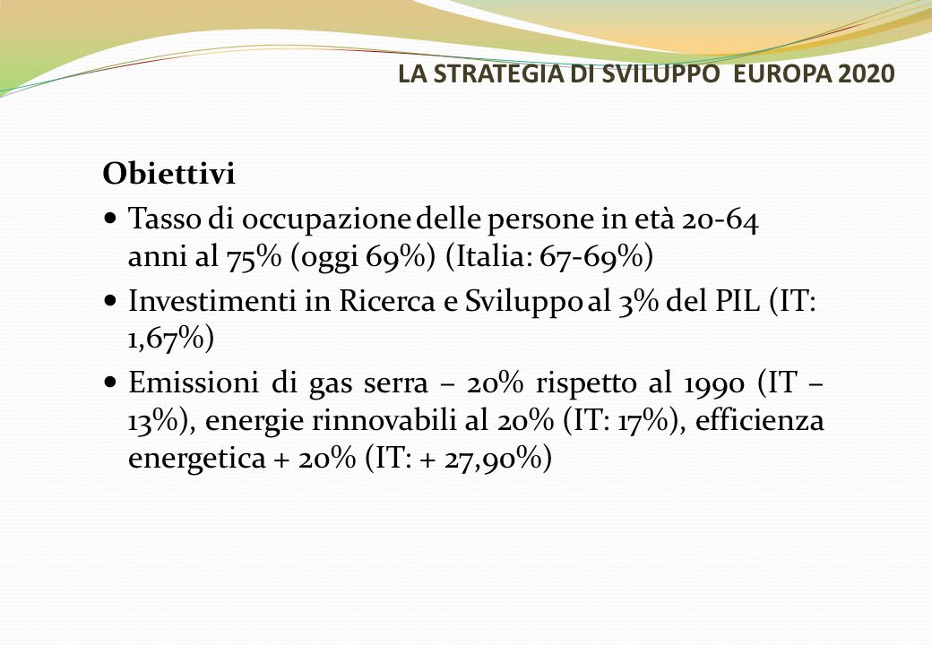 LA STRATEGIA DI SVILUPPO EUROPA 2020 Obiettivi Tasso di abbandono scolastico inferiore al 10% (oggi 15%) (IT – 15-16%)e almeno il 40% dei giovani laureato (oggi 31%) (IT: 26-27%) 20 milioni in meno di persone a rischio povertà (-25% rispetto ad oggi) (IT: - 2.200.000)
