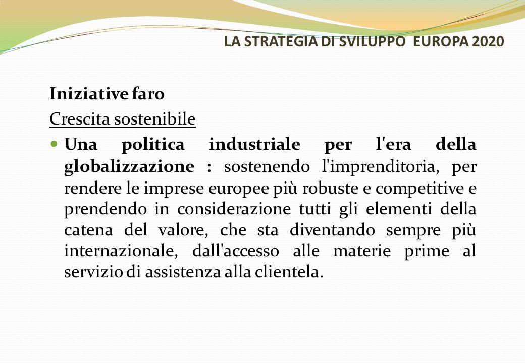 LA STRATEGIA DI SVILUPPO EUROPA 2020 Iniziative faro Crescita sostenibile Una politica industriale per l'era della globalizzazione : sostenendo l'impr