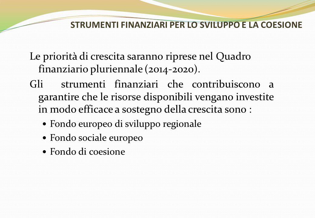 STRUMENTI FINANZIARI PER LO SVILUPPO E LA COESIONE Le priorità di crescita saranno riprese nel Quadro finanziario pluriennale (2014-2020). Gli strumen