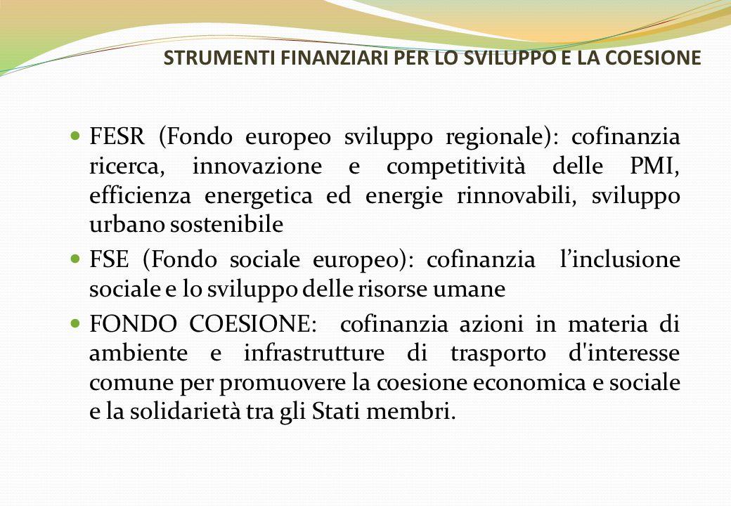STRUMENTI FINANZIARI PER LO SVILUPPO E LA COESIONE FESR (Fondo europeo sviluppo regionale): cofinanzia ricerca, innovazione e competitività delle PMI,