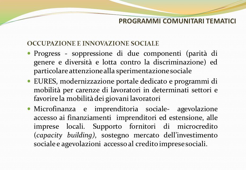 PROGRAMMI COMUNITARI TEMATICI OCCUPAZIONE E INNOVAZIONE SOCIALE Progress - soppressione di due componenti (parità di genere e diversità e lotta contro