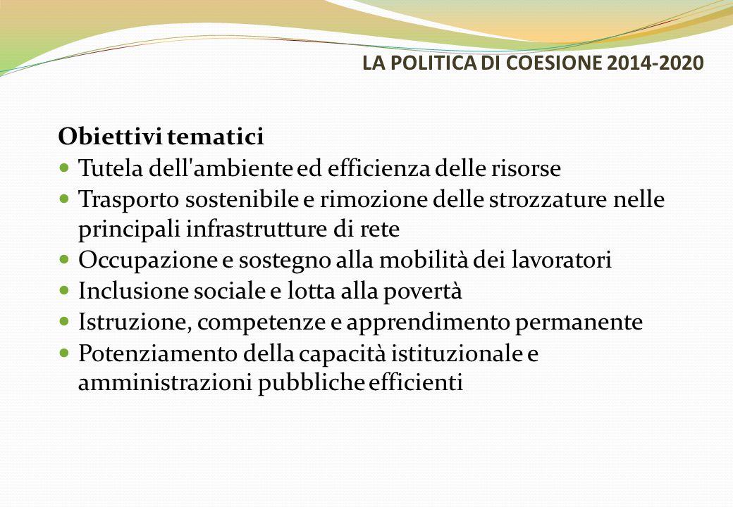 LA POLITICA DI COESIONE 2014-2020 Obiettivi tematici Tutela dell'ambiente ed efficienza delle risorse Trasporto sostenibile e rimozione delle strozzat