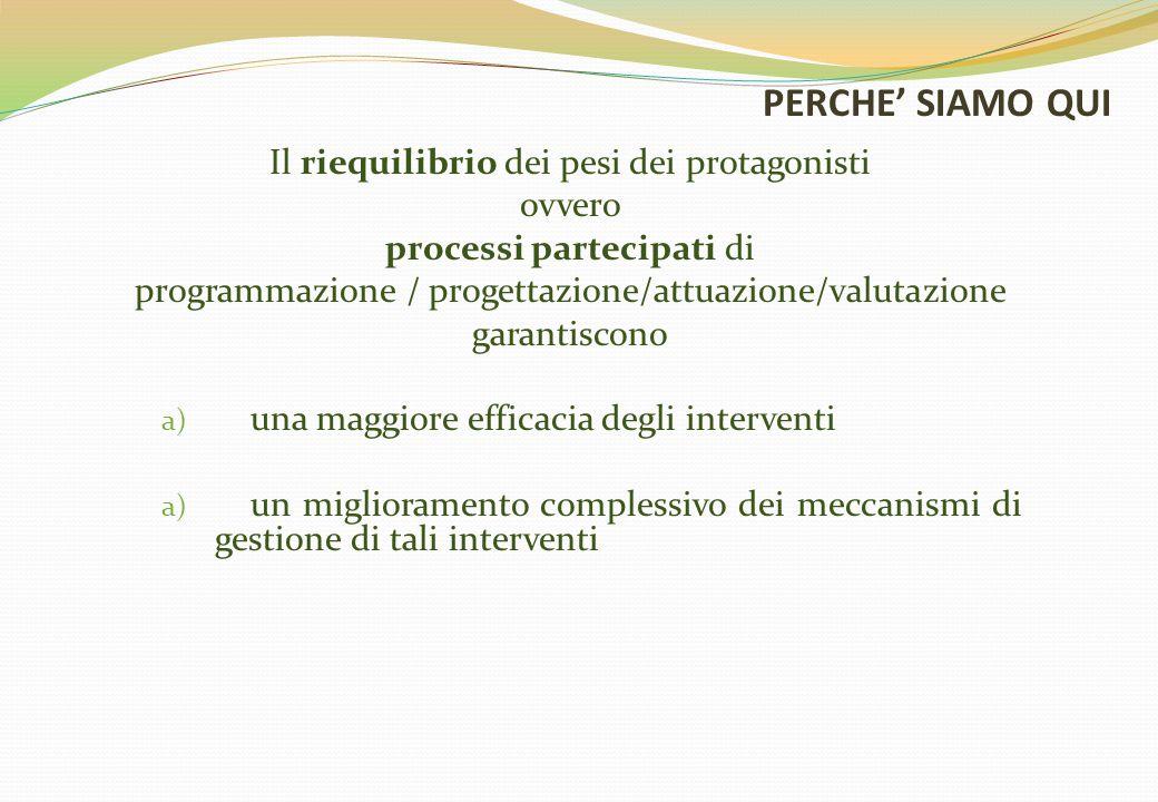 Il riequilibrio dei pesi dei protagonisti ovvero processi partecipati di programmazione / progettazione/attuazione/valutazione garantiscono a) una mag