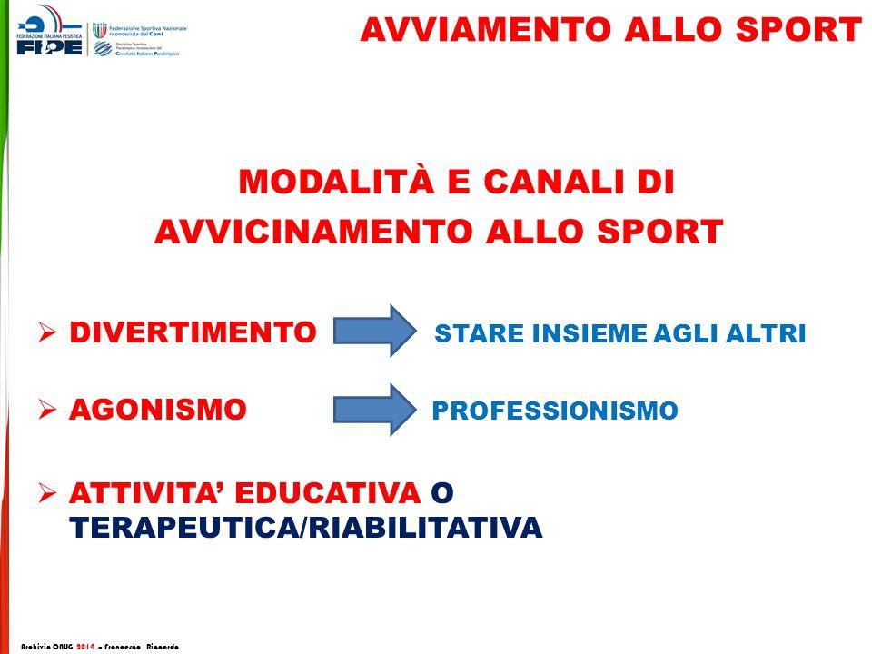 AVVIAMENTO ALLO SPORT MODALITÀ E CANALI DI AVVICINAMENTO ALLO SPORT  DIVERTIMENTO STARE INSIEME AGLI ALTRI  AGONISMO PROFESSIONISMO  ATTIVITA' EDUC