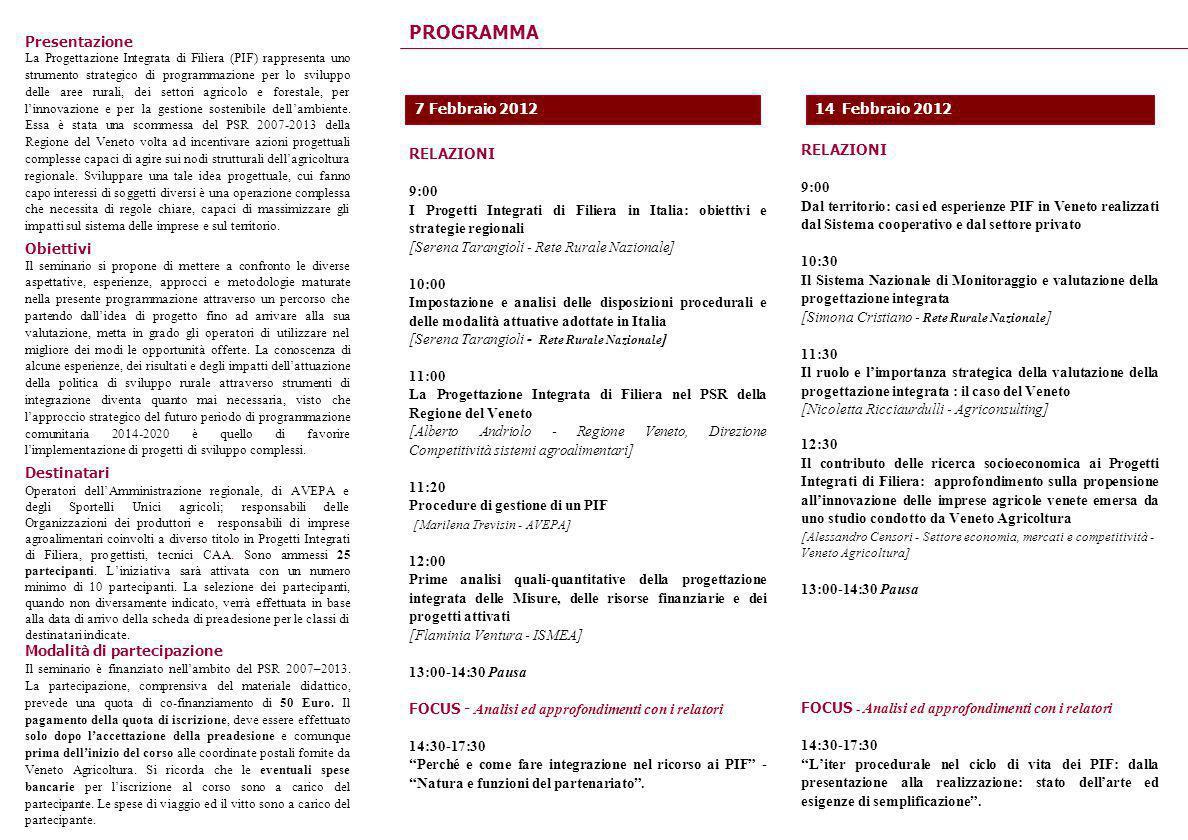 PROGRAMMA RELAZIONI 9:00 I Progetti Integrati di Filiera in Italia: obiettivi e strategie regionali [Serena Tarangioli - Rete Rurale Nazionale] 10:00
