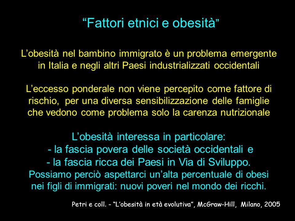 L'obesità nel bambino immigrato è un problema emergente in Italia e negli altri Paesi industrializzati occidentali L'eccesso ponderale non viene perce