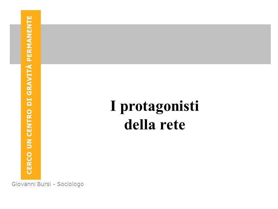 CERCO UN CENTRO DI GRAVITÀ PERMANENTE Giovanni Bursi - Sociologo I protagonisti della rete