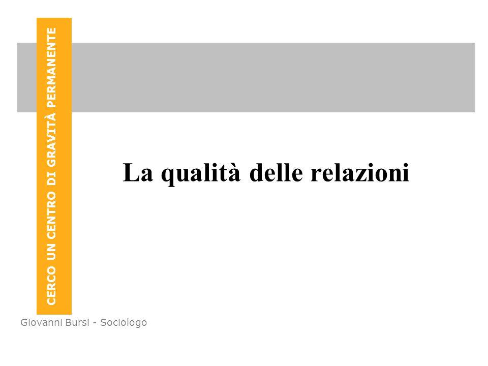CERCO UN CENTRO DI GRAVITÀ PERMANENTE Giovanni Bursi - Sociologo La qualità delle relazioni