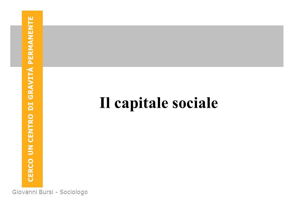 CERCO UN CENTRO DI GRAVITÀ PERMANENTE Giovanni Bursi - Sociologo Il capitale sociale