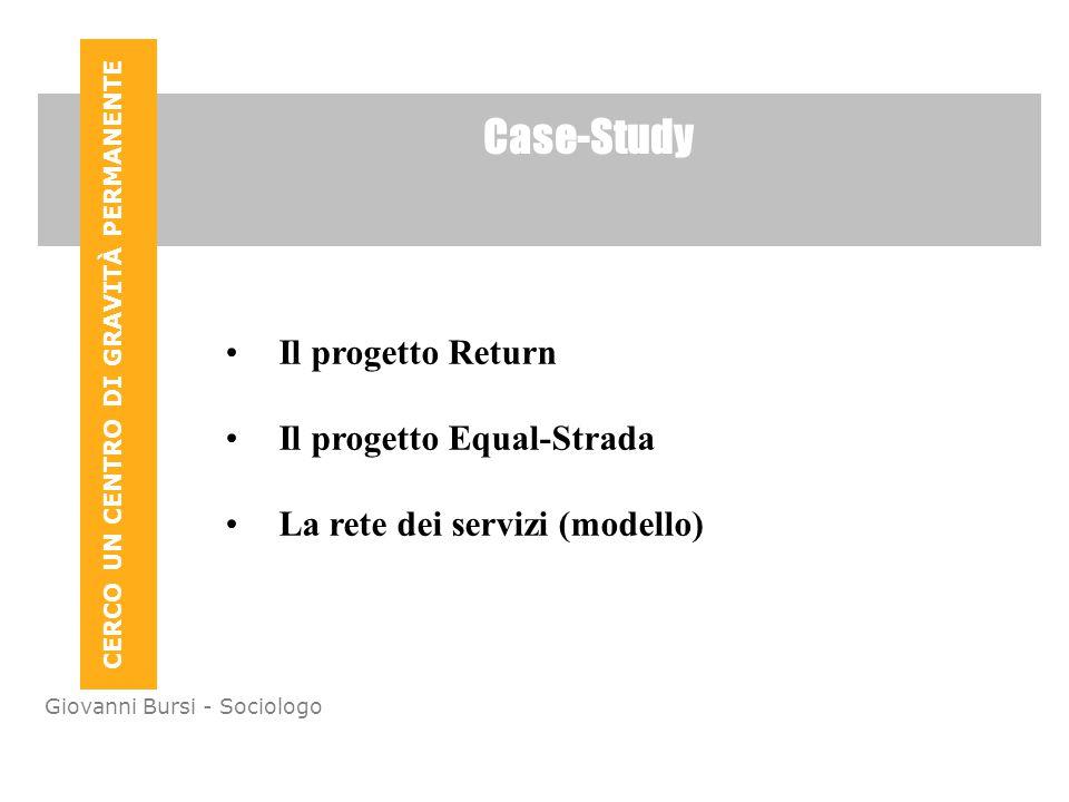 CERCO UN CENTRO DI GRAVITÀ PERMANENTE Giovanni Bursi - Sociologo Case-Study Il progetto Return Il progetto Equal-Strada La rete dei servizi (modello)