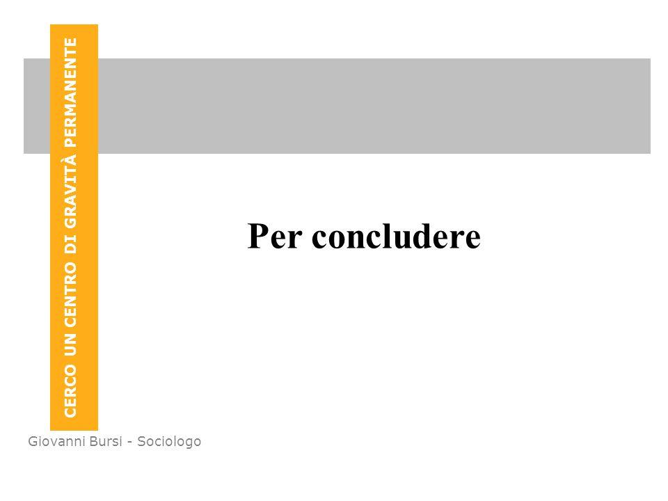 CERCO UN CENTRO DI GRAVITÀ PERMANENTE Giovanni Bursi - Sociologo Per concludere