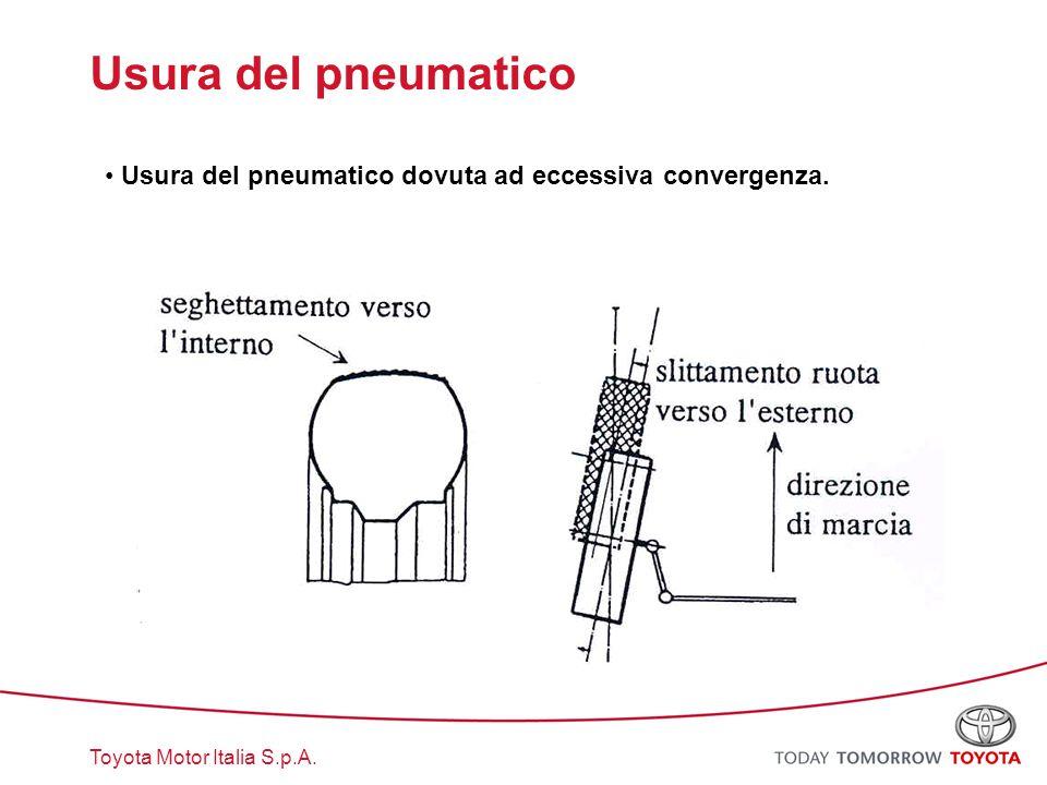 Toyota Motor Italia S.p.A. Usura del pneumatico Usura del pneumatico dovuta ad eccessiva convergenza.