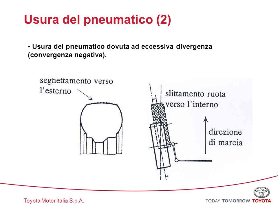 Toyota Motor Italia S.p.A. Usura del pneumatico (2) Usura del pneumatico dovuta ad eccessiva divergenza (convergenza negativa).