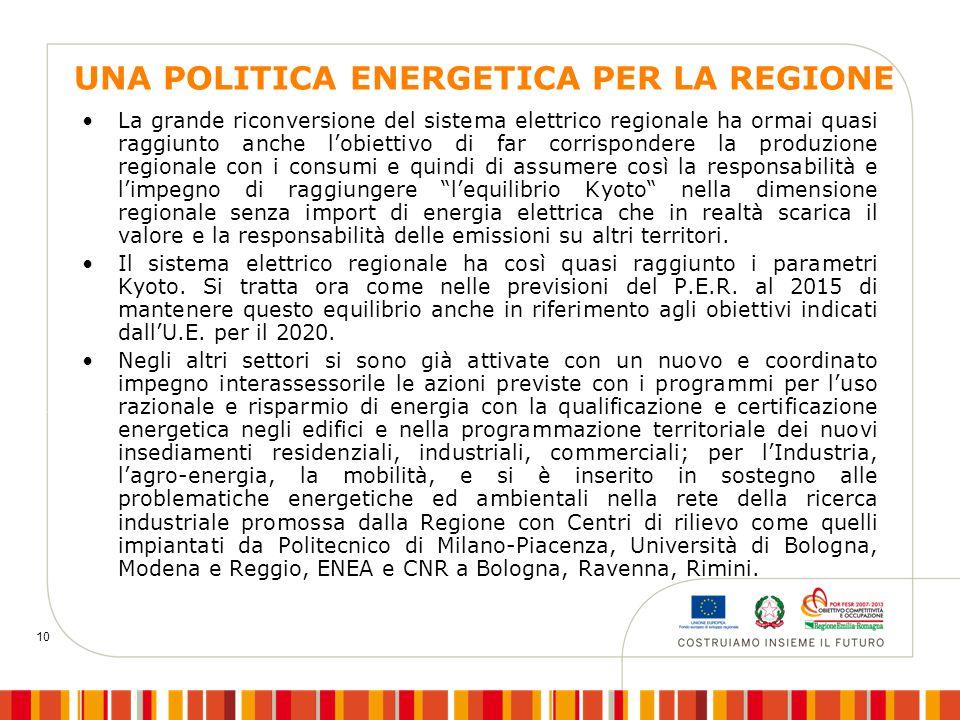 10 UNA POLITICA ENERGETICA PER LA REGIONE La grande riconversione del sistema elettrico regionale ha ormai quasi raggiunto anche l'obiettivo di far co