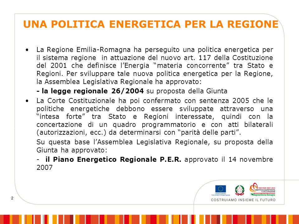 2 2 UNA POLITICA ENERGETICA PER LA REGIONE La Regione Emilia-Romagna ha perseguito una politica energetica per il sistema regione in attuazione del nu
