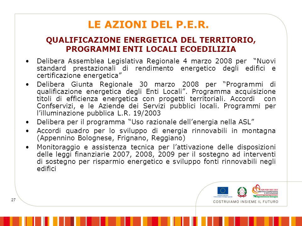 """27 LE AZIONI DEL P.E.R. Delibera Assemblea Legislativa Regionale 4 marzo 2008 per """"Nuovi standard prestazionali di rendimento energetico degli edifici"""