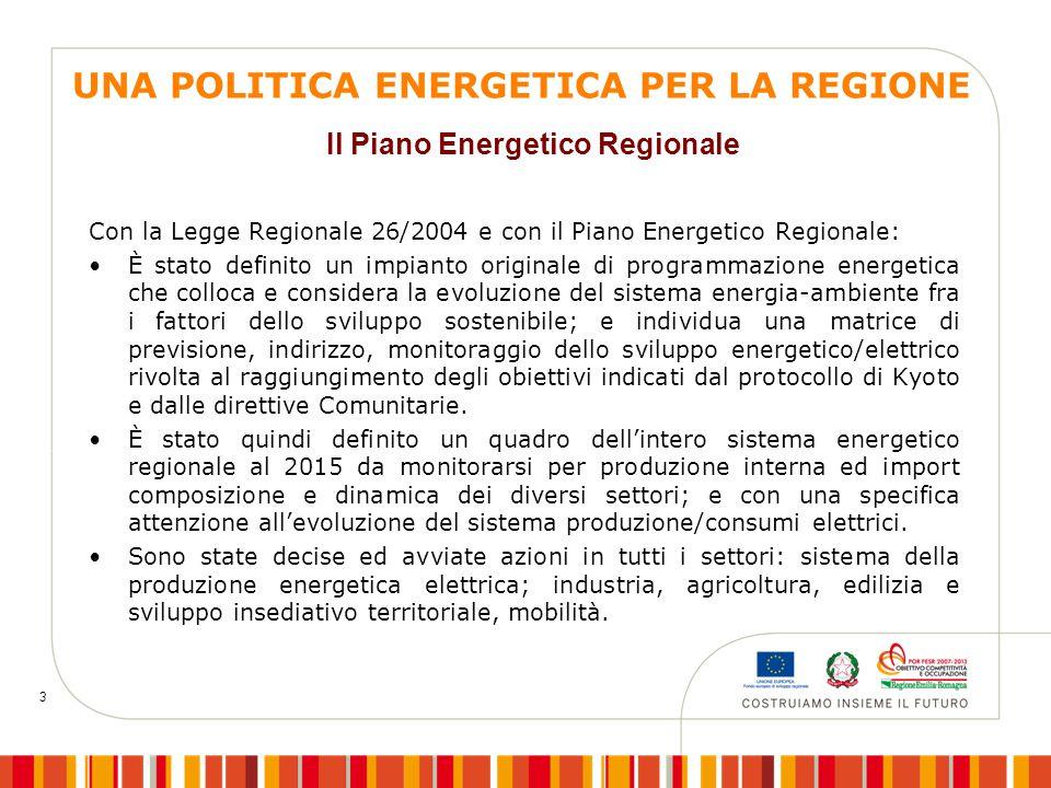 3 UNA POLITICA ENERGETICA PER LA REGIONE Con la Legge Regionale 26/2004 e con il Piano Energetico Regionale: È stato definito un impianto originale di