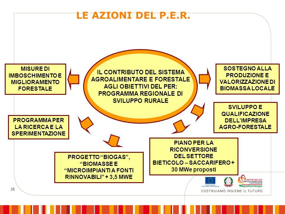 35 PROGRAMMA PER LA RICERCA E LA SPERIMENTAZIONE PROGETTO BIOGAS , BIOMASSE E MICROIMPIANTI A FONTI RINNOVABILI + 3,5 MWE PIANO PER LA RICONVERSIONE DEL SETTORE BIETICOLO – SACCARIFERO + 30 MWe proposti SVILUPPO E QUALIFICAZIONE DELL'IMPRESA AGRO-FORESTALE IL CONTRIBUTO DEL SISTEMA AGROALIMENTARE E FORESTALE AGLI OBIETTIVI DEL PER: PROGRAMMA REGIONALE DI SVILUPPO RURALE MISURE DI IMBOSCHIMENTO E MIGLIORAMENTO FORESTALE SOSTEGNO ALLA PRODUZIONE E VALORIZZAZIONE DI BIOMASSA LOCALE LE AZIONI DEL P.E.R.