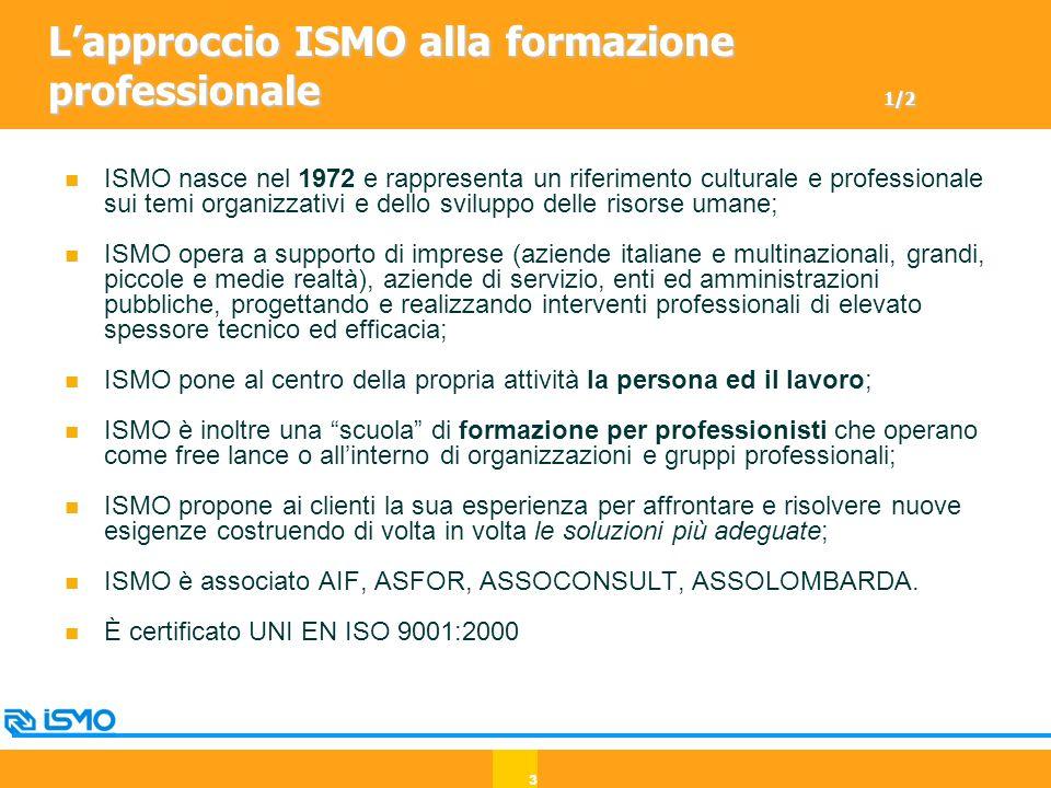 3 L'approccio ISMO alla formazione professionale 1/2 ISMO nasce nel 1972 e rappresenta un riferimento culturale e professionale sui temi organizzativi e dello sviluppo delle risorse umane; ISMO opera a supporto di imprese (aziende italiane e multinazionali, grandi, piccole e medie realtà), aziende di servizio, enti ed amministrazioni pubbliche, progettando e realizzando interventi professionali di elevato spessore tecnico ed efficacia; ISMO pone al centro della propria attività la persona ed il lavoro; ISMO è inoltre una scuola di formazione per professionisti che operano come free lance o all'interno di organizzazioni e gruppi professionali; ISMO propone ai clienti la sua esperienza per affrontare e risolvere nuove esigenze costruendo di volta in volta le soluzioni più adeguate; ISMO è associato AIF, ASFOR, ASSOCONSULT, ASSOLOMBARDA.