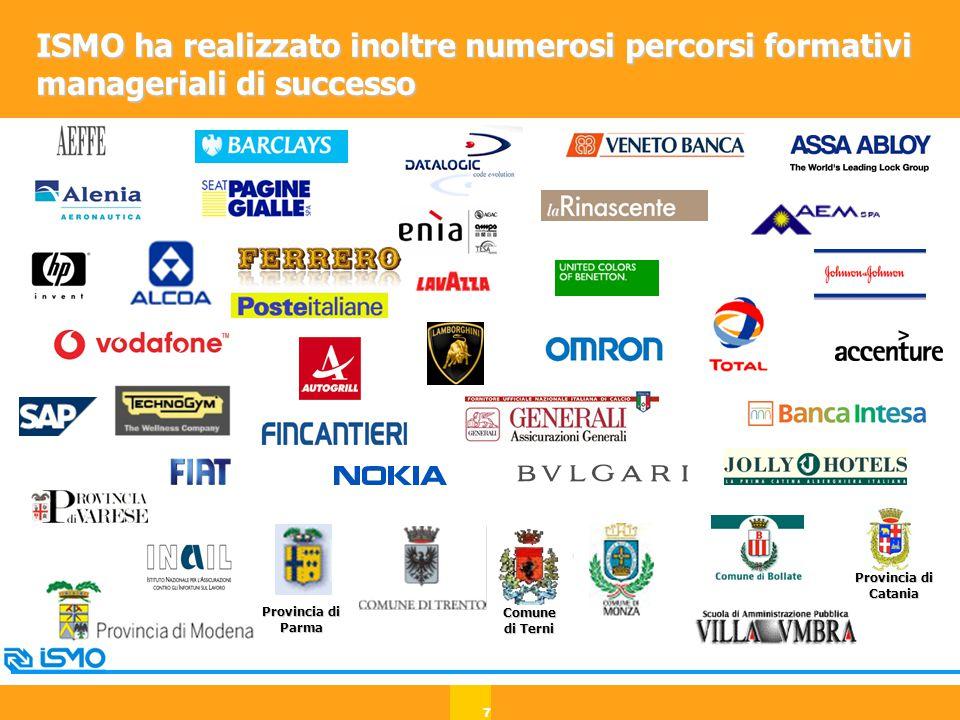 7 ISMO ha realizzato inoltre numerosi percorsi formativi manageriali di successo Comune di Terni Provincia di Parma Provincia di Catania