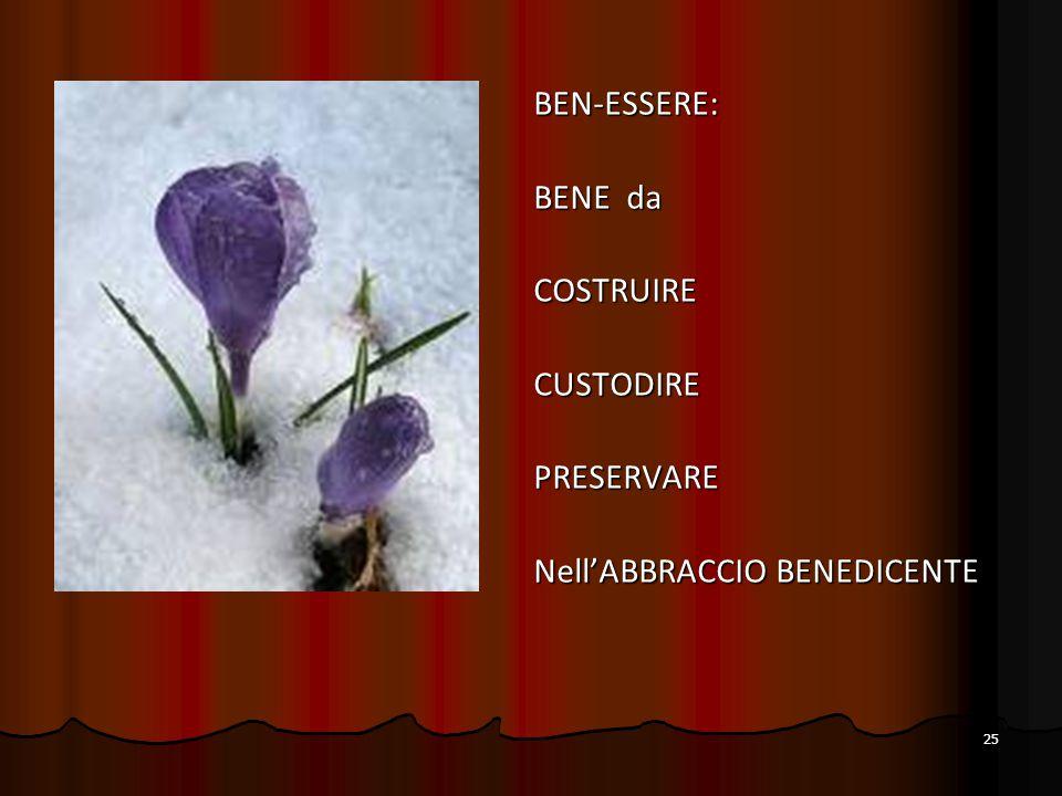 25 BEN-ESSERE: BENE da COSTRUIRECUSTODIREPRESERVARE Nell'ABBRACCIO BENEDICENTE