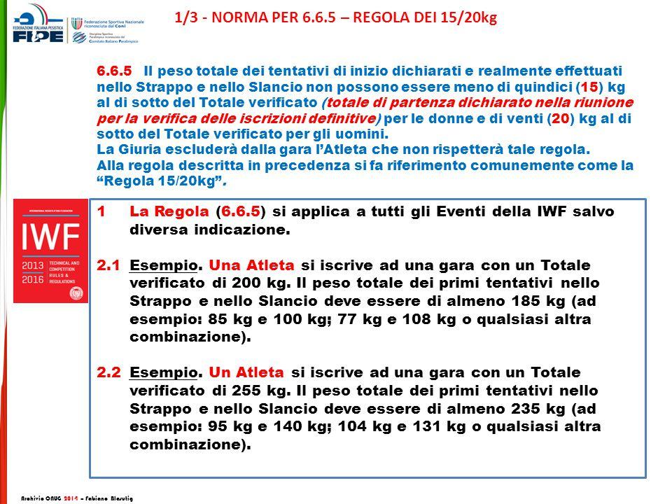 1La Regola (6.6.5) si applica a tutti gli Eventi della IWF salvo diversa indicazione.