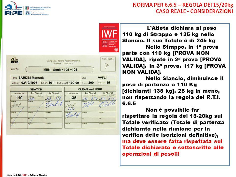Archivio CNUG 2014 – Fabiano Blasutig L'Atleta dichiara al peso 110 kg di Strappo e 135 kg nello Slancio.