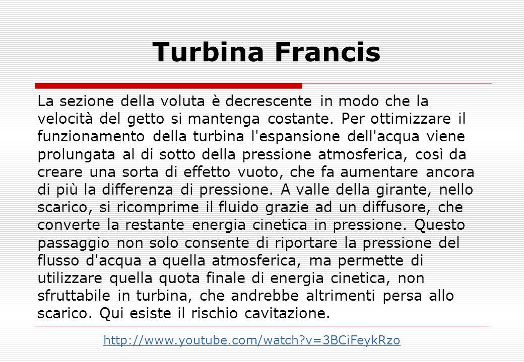 Turbina Francis La sezione della voluta è decrescente in modo che la velocità del getto si mantenga costante.