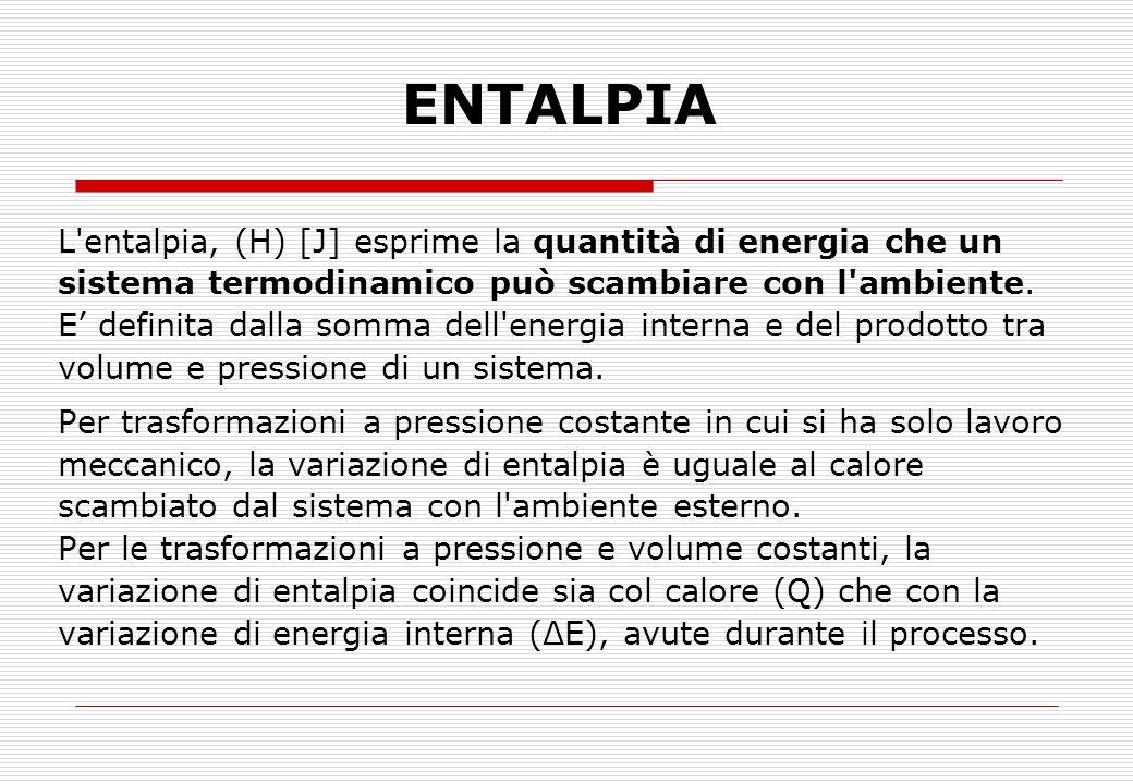 ENTALPIA L entalpia, (H) [J] esprime la quantità di energia che un sistema termodinamico può scambiare con l ambiente.