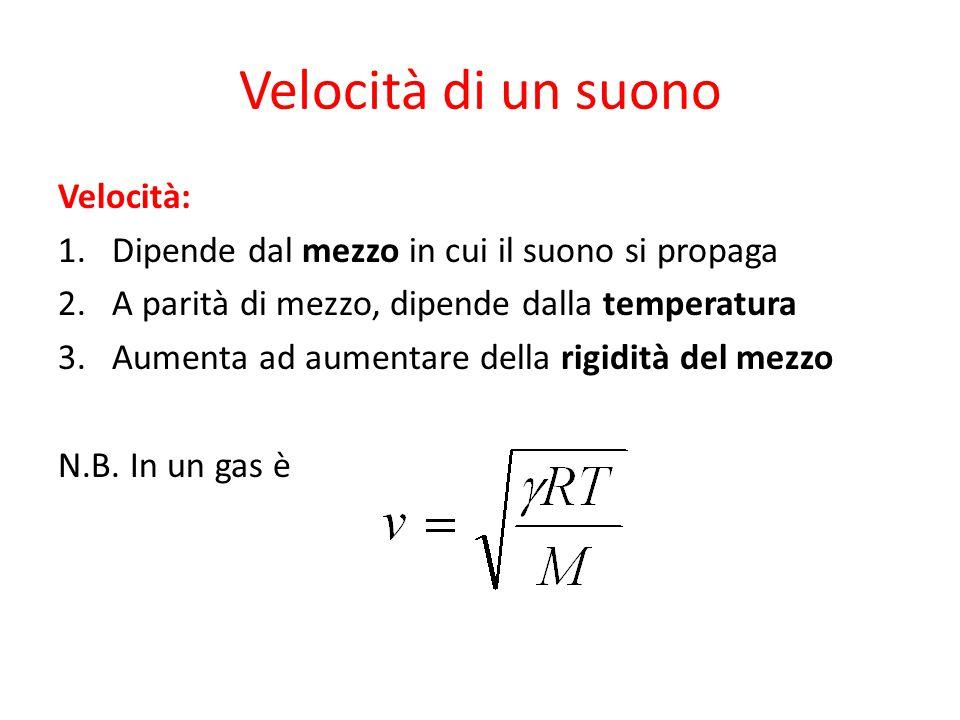 Velocità di un suono Velocità: 1.Dipende dal mezzo in cui il suono si propaga 2.A parità di mezzo, dipende dalla temperatura 3.Aumenta ad aumentare della rigidità del mezzo N.B.