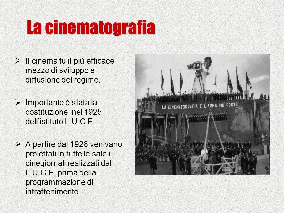 La cinematografia  Il cinema fu il più efficace mezzo di sviluppo e diffusione del regime.  Importante è stata la costituzione nel 1925 dell'istitut