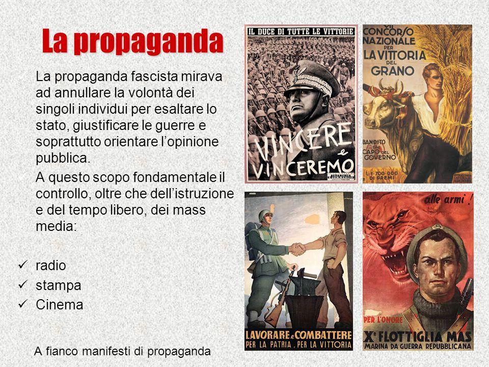 La propaganda La propaganda fascista mirava ad annullare la volontà dei singoli individui per esaltare lo stato, giustificare le guerre e soprattutto orientare l'opinione pubblica.