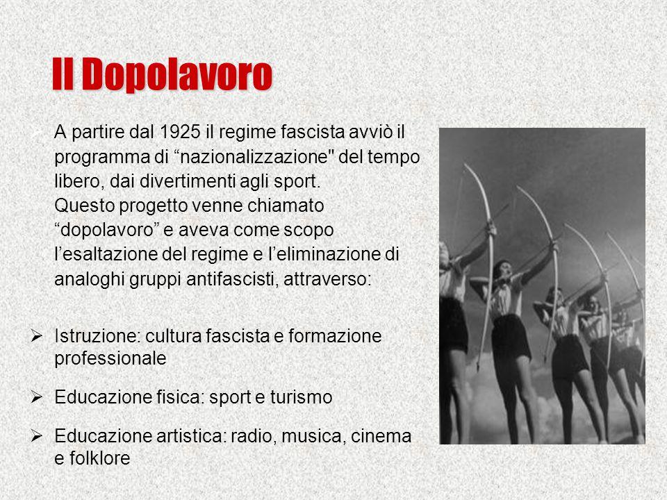Il Dopolavoro  A partire dal 1925 il regime fascista avviò il programma di nazionalizzazione del tempo libero, dai divertimenti agli sport.