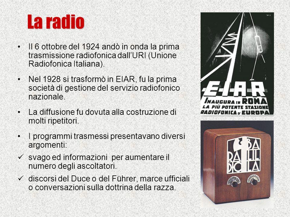 Il 6 ottobre del 1924 andò in onda la prima trasmissione radiofonica dall'URI (Unione Radiofonica Italiana). Nel 1928 si trasformò in EIAR, fu la prim