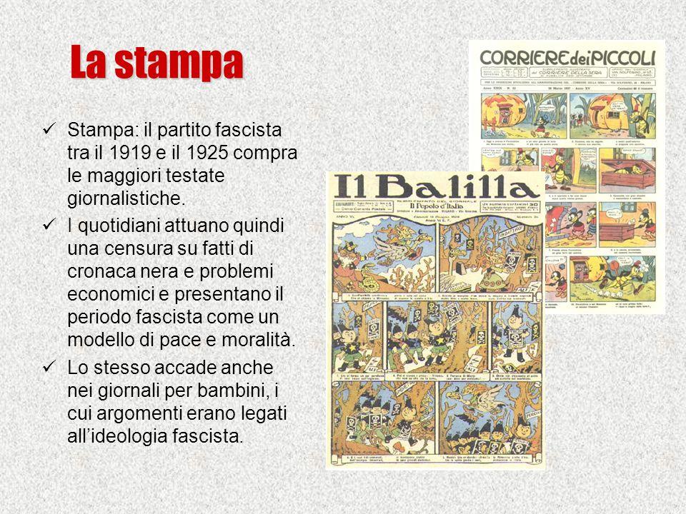 La stampa Stampa: il partito fascista tra il 1919 e il 1925 compra le maggiori testate giornalistiche. I quotidiani attuano quindi una censura su fatt