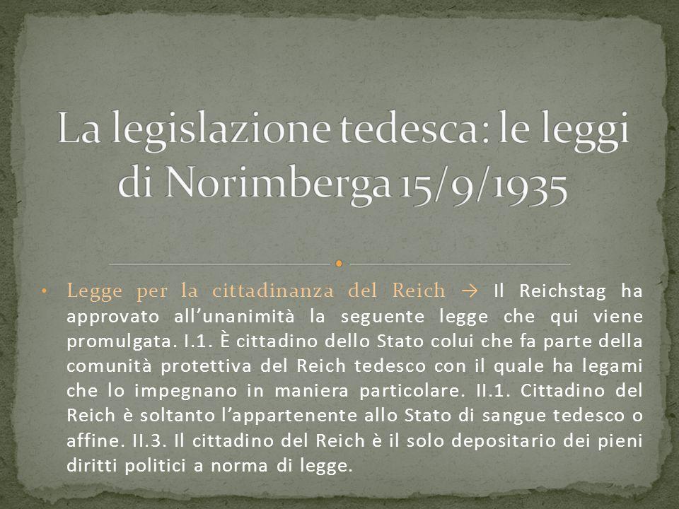 Legge per la cittadinanza del Reich → Il Reichstag ha approvato all'unanimità la seguente legge che qui viene promulgata. I.1. È cittadino dello Stato