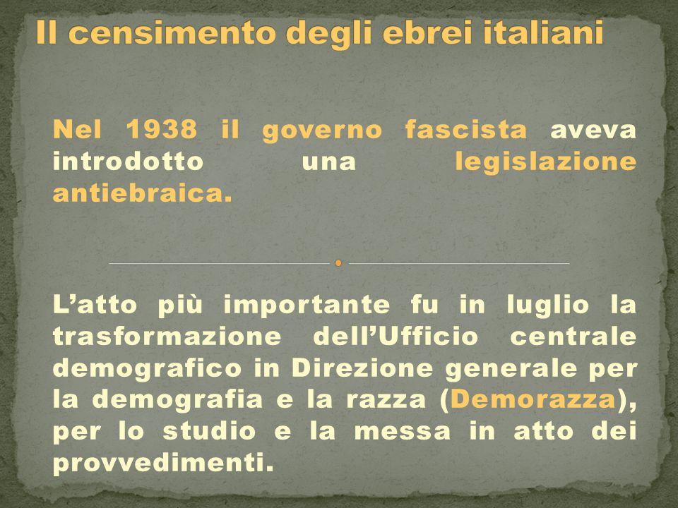Nel 1938 il governo fascista aveva introdotto una legislazione antiebraica. L'atto più importante fu in luglio la trasformazione dell'Ufficio centrale