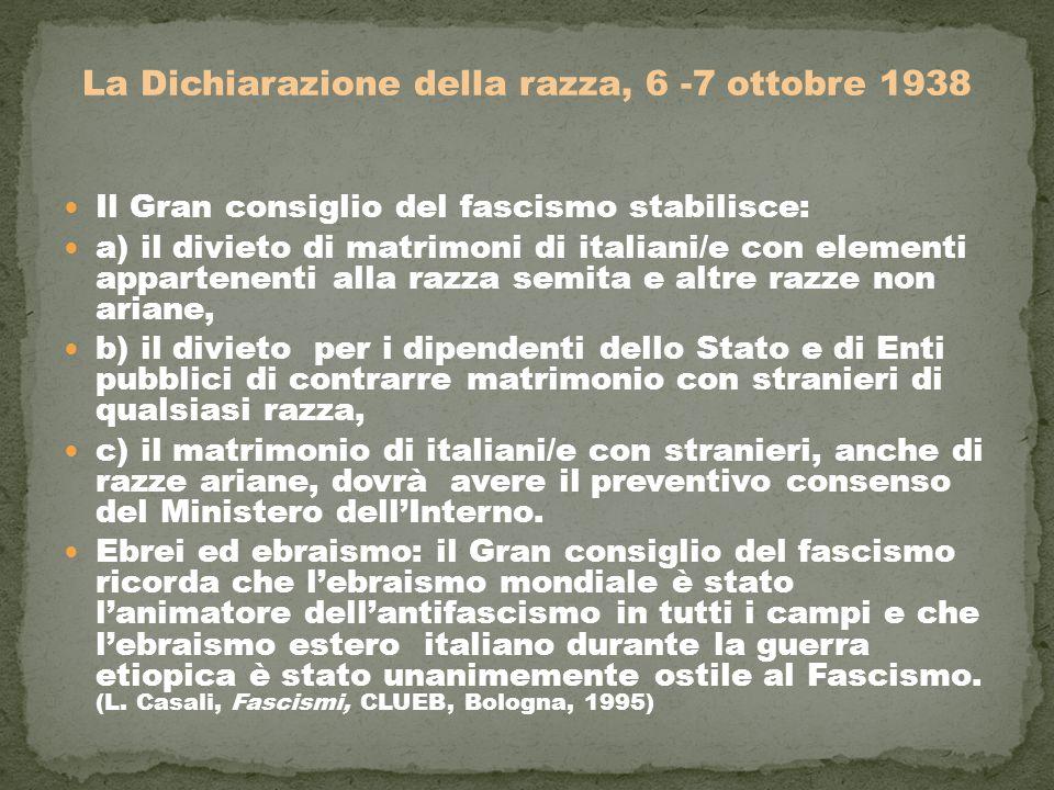 La Dichiarazione della razza, 6 -7 ottobre 1938 Il Gran consiglio del fascismo stabilisce: a) il divieto di matrimoni di italiani/e con elementi appar