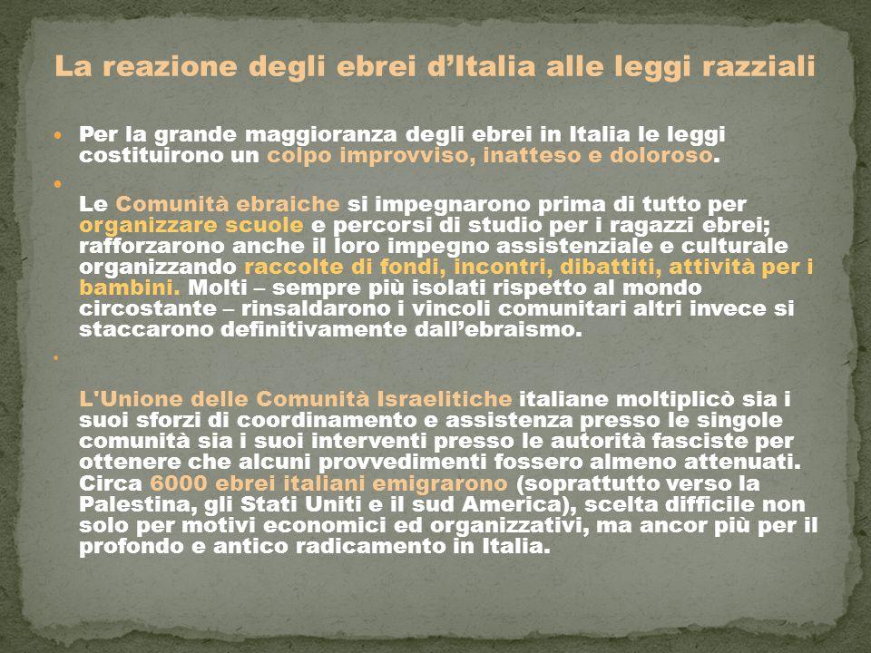 La reazione degli ebrei d'Italia alle leggi razziali Per la grande maggioranza degli ebrei in Italia le leggi costituirono un colpo improvviso, inatteso e doloroso.