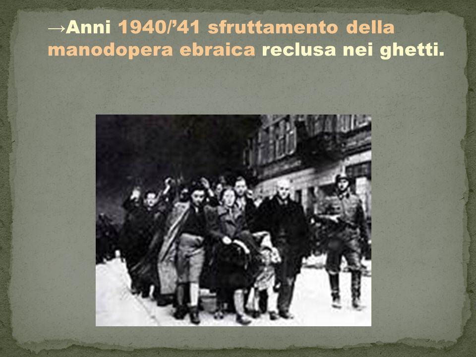 →Anni 1940/'41 sfruttamento della manodopera ebraica reclusa nei ghetti.