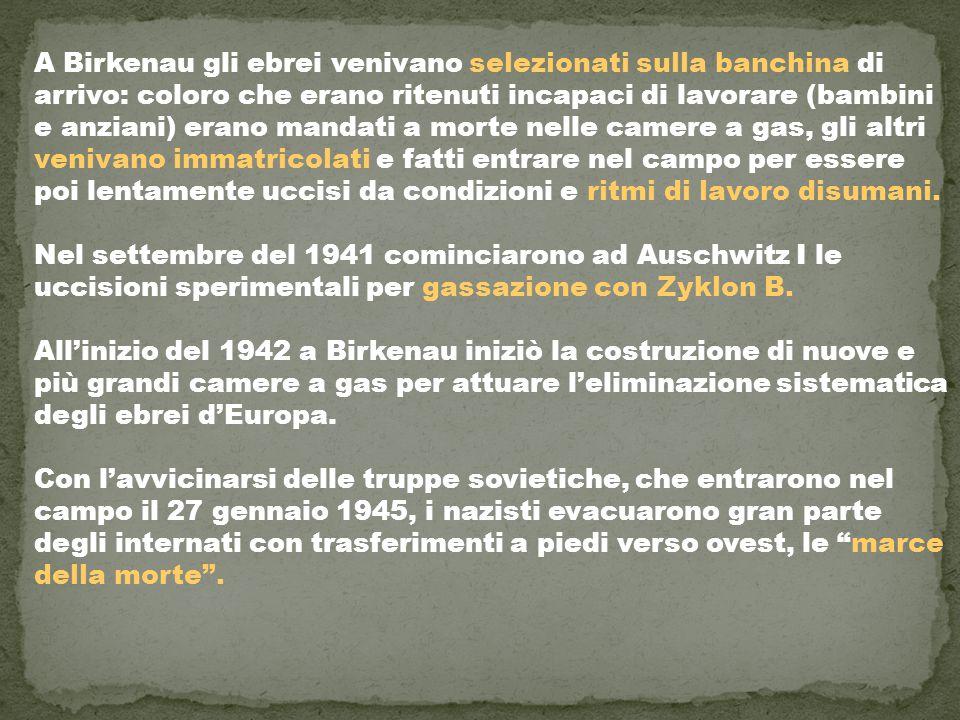 A Birkenau gli ebrei venivano selezionati sulla banchina di arrivo: coloro che erano ritenuti incapaci di lavorare (bambini e anziani) erano mandati a