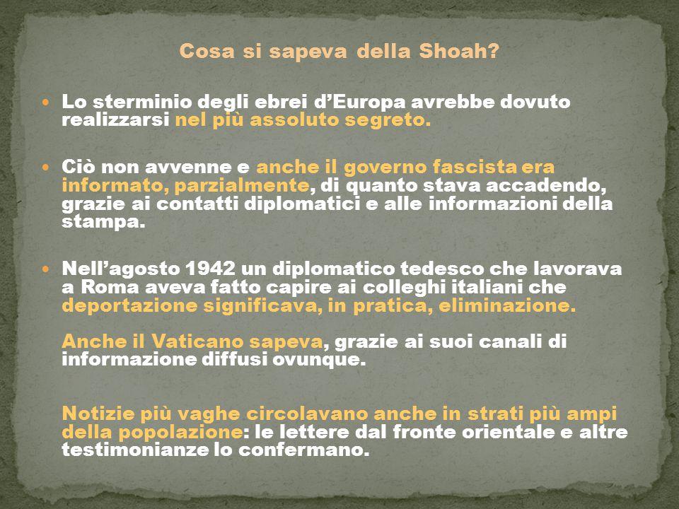 Cosa si sapeva della Shoah? Lo sterminio degli ebrei d'Europa avrebbe dovuto realizzarsi nel più assoluto segreto. Ciò non avvenne e anche il governo