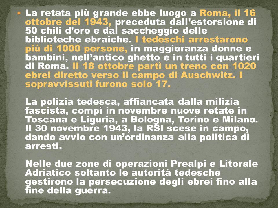 La retata più grande ebbe luogo a Roma, il 16 ottobre del 1943, preceduta dall'estorsione di 50 chili d'oro e dal saccheggio delle biblioteche ebraiche.